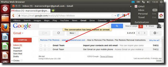 Gmail in Ubuntu integriert