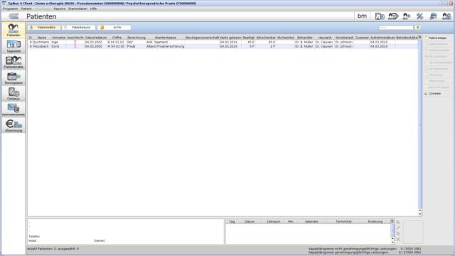 Der Epikur-Client unter Ubuntu nach dem Start (mit Dummy-Daten)