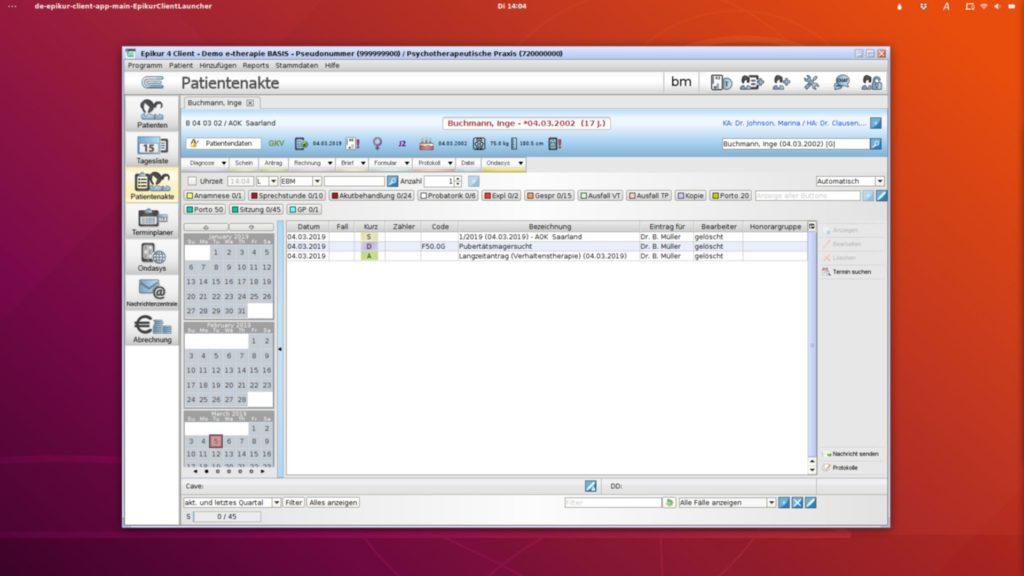 Epikur-Praxisverwaltung auf Ubuntu-Linux 18.04